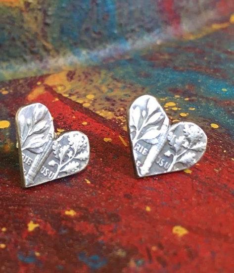 Silver Dime Heart Earrings - hand cut coin jewelry