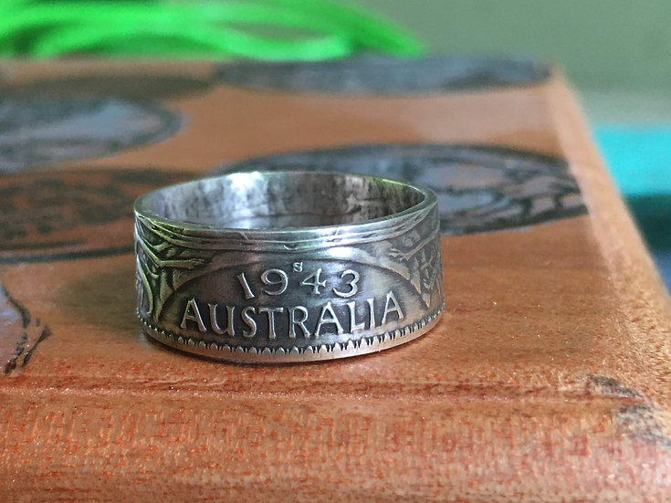 Australia - Coin Ring Sterling Silver .925 Vintage 1943 and 1944 Florin Coat of