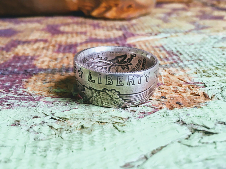 Fine Silver .999 Coin Ring - Indian Incuse 1/2 Oz coin - First Nations, Native A