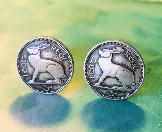 Cufflinks - Hare - Irish coins - soldered