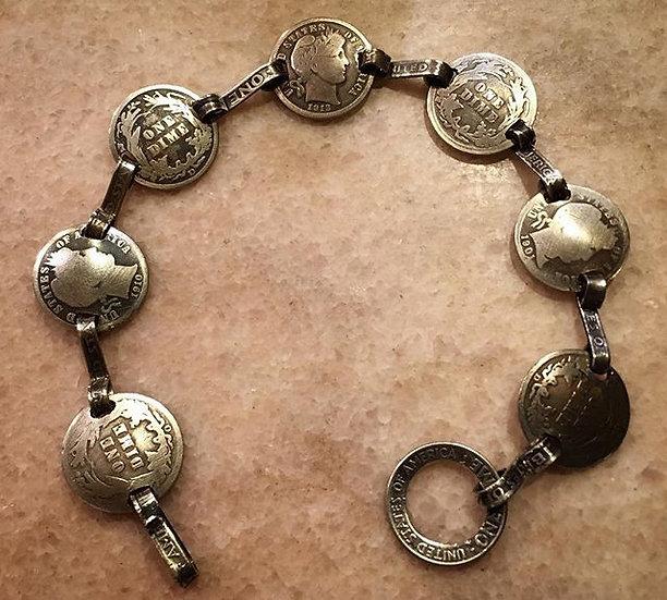 Silver Barber Dime Bracelet