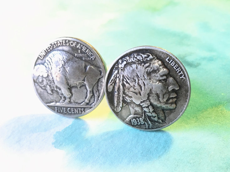 Buffalo Indian Head Nickel Coin Cufflinks - soldered cufflinks - heads and tails