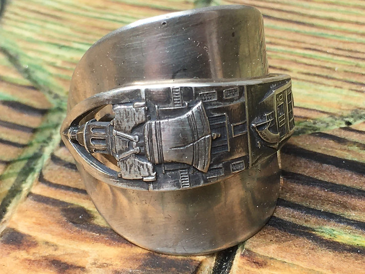 Sterling silver spoon ring - Liberty Bell Phila, PA