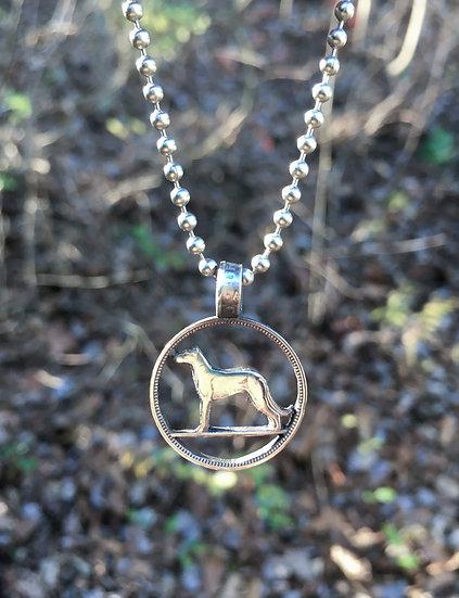 Dog Coin Pendant - hand cut coin Irish wolfhound