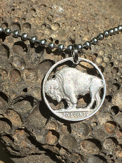 Buffalo Nickel hand-cut charm necklace with stainless steel ballchain