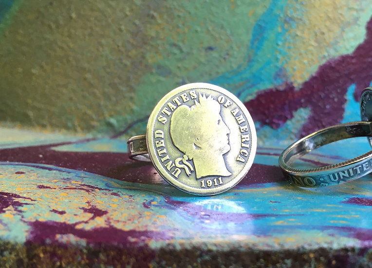 Silver Barber dime ring with silver dime band - soldered - FREE custom sizing