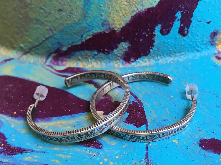 Silver (.900) Quarter Hoop Earrings