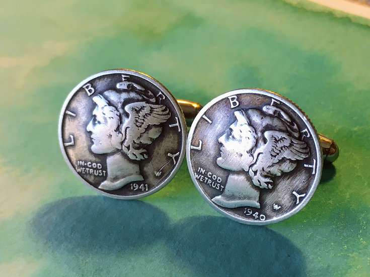 Cufflinks - Silver Mercury Dimes - soldered