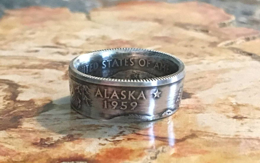 Alaska Silver Qtr Ring (item in photo is item for sale)