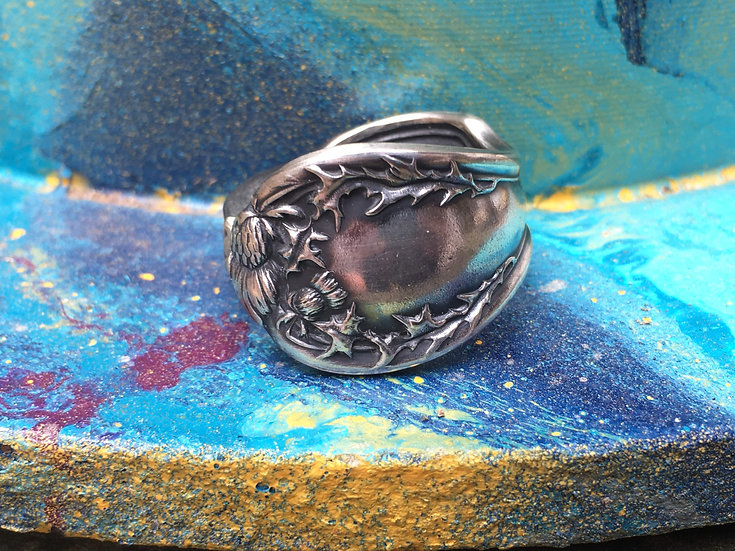 Silver-plated Spoon ring - thistle