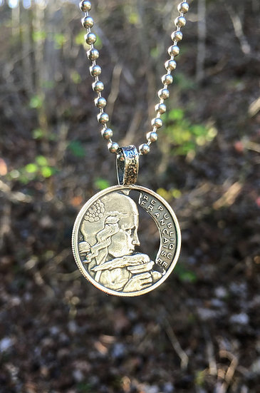 French Coin Pendant Handcut - Liberty holding a torch - France vintage upcycled
