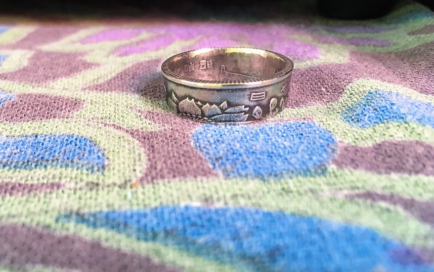 Japanese Coin Ring - chrysanthemum flowers - Japan, Asian World Coin Jewelry - F