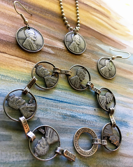 Steel Penny Jewelry set - handcut bracelet with domed earrings and charm necklac