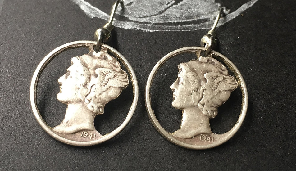 Cameo, handcut Silver Dime Earrings
