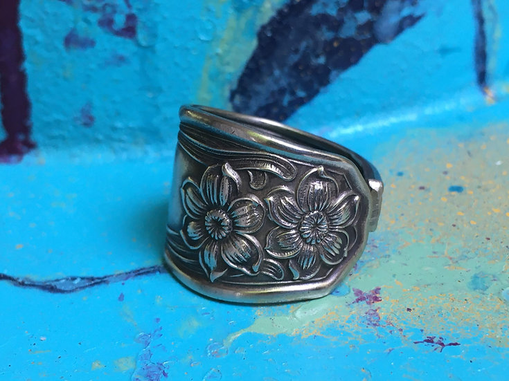 Silver-plated Spoon ring - Floral pattern