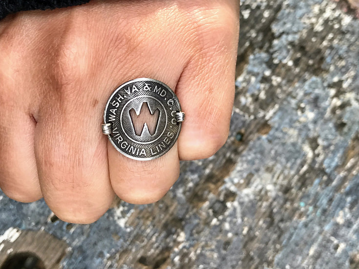 Virginia Lines Token Ring - Washington DC, Maryland, VA vintage with silver dime