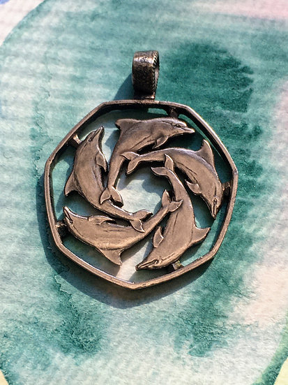 Dolphin Coin Pendant Handcut - 5 Bottlenose Dolphins - Animals - Coin Jewelry Ne