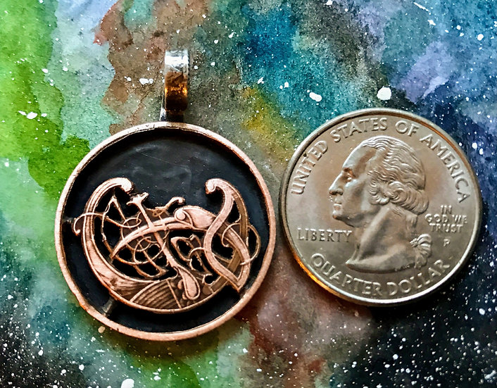 Celtic style Bird hand cut Pendant vintage bronze Irish coin, set on sterling si