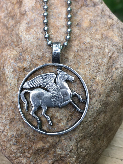 Pegasus Pendant - cutout coin pendant - Greek Drachma - winged horse - mythical