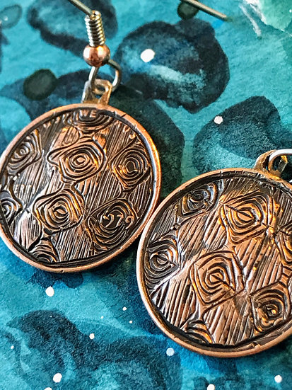 Hand-engraved, domed copper penny earrings