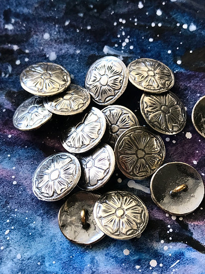 Set of 6 or 13 hand-engraved silver (.900) Flower buttons - Shank Buttons
