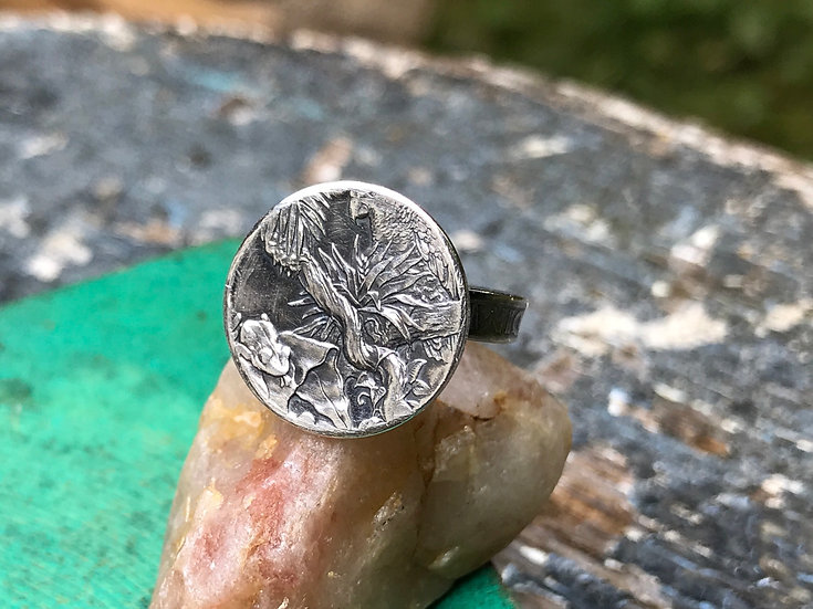 Rain Forest silver coin ring with silver dime band - El Yunque National parks Pu