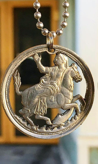 Silver (.835) Selene the moon goddess on horseback with dolphin Pendant