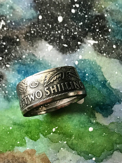 UK Coin Ring featuring thistles, shamrock and crown