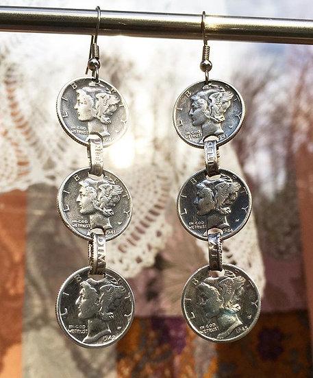 Dangling Triple Silver Dime Earrings