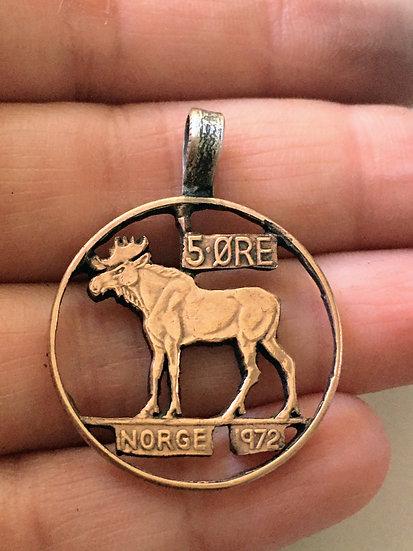 Norway Coin Pendant Handcut Bronze - Eurasian Elk - Norwegian 1972 vintage upcyc