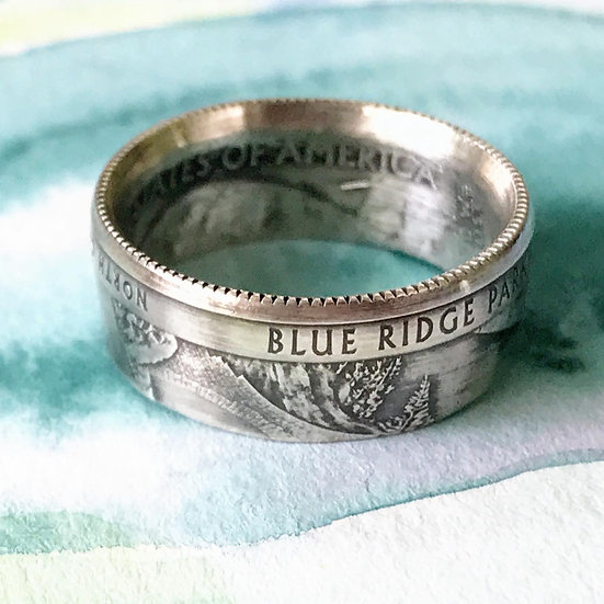 Blue Ridge Parkway Silver Quarter Ring