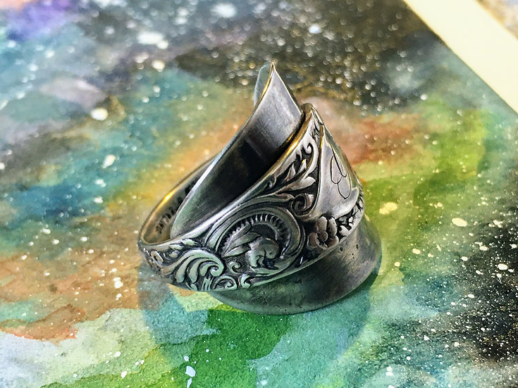 Spoon Ring .925 Sterling Silver - Decorative Scrollwork, Leaves & Flowers - Vint