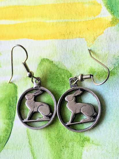 Hare in the Moon Earrings hand cut from coins - upcycled unique gifts - animal t