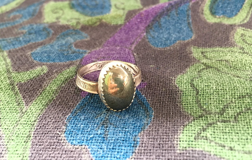 Pyrite Ring - Silver dime band - coin ring - sterling silver setting - Custom si