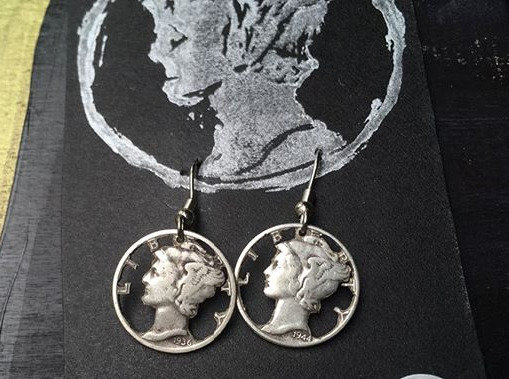 """Liberty"", handcut Silver Dime Earrings"