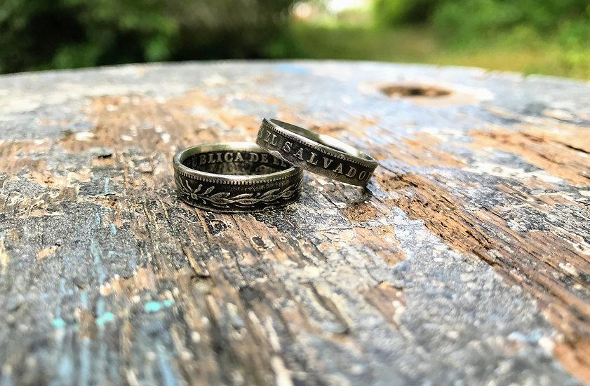 El Salvador Silver coin ring - FREE custom sizing