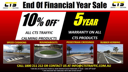 10% OFF ON ALL CTS TRAFFIC CALMING PRODUCTS. MAY-JUNE 2018