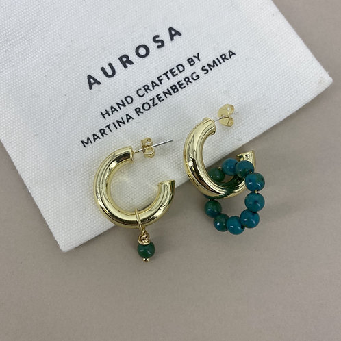 Half Hoop Malachite earrings