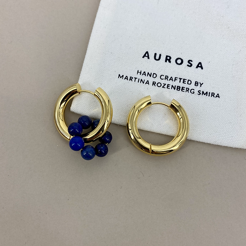 Chunky Hoop Lapis Lazuli earrings