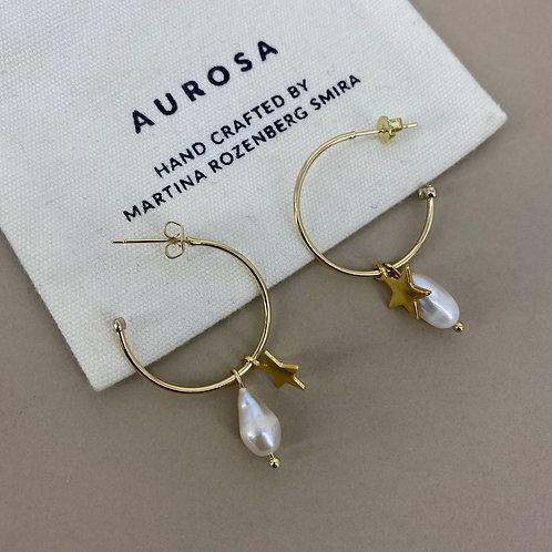 Skinny Star Pearl earrings