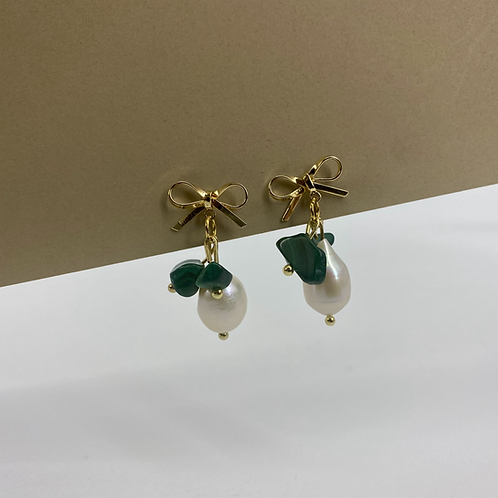 Lets Bow Malachite earrings