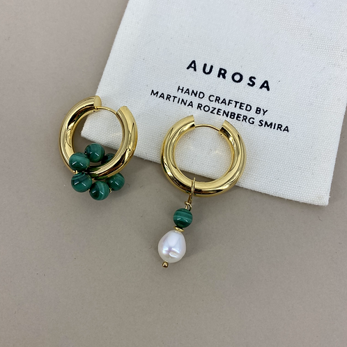 Chunky Hoop Malachite earrings