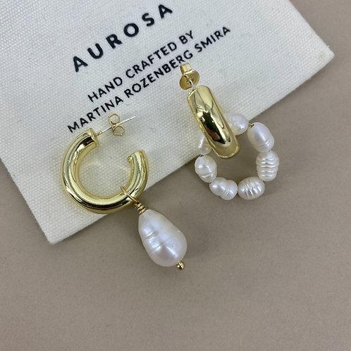 Half Hoop Pearl  earrings