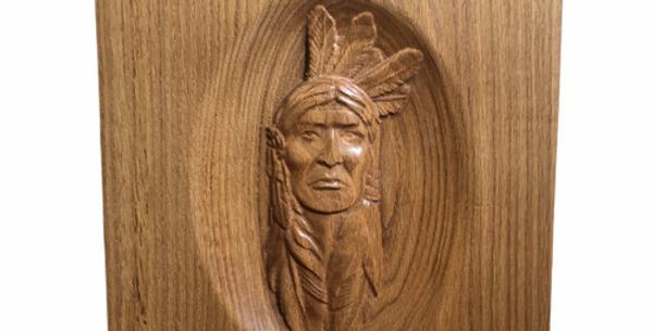 3/D Carved Indian Warrior