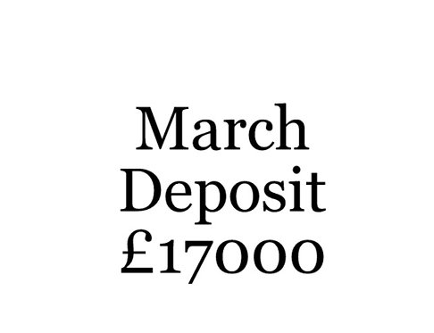 2020 March Build Slot Deposit For Your Moni Self Build.