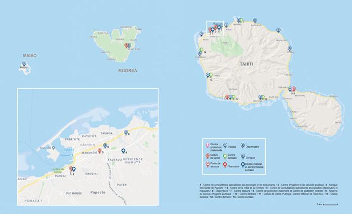 Carte des structures de santé en Polynésie