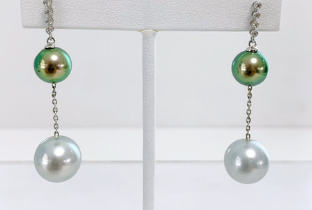 Boucles d'oreilles or, diamants et perles de Tahiti