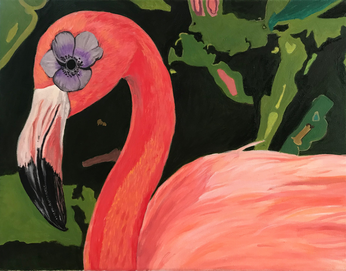 Flower Power Flamingo 16 x 20 oil on canvas