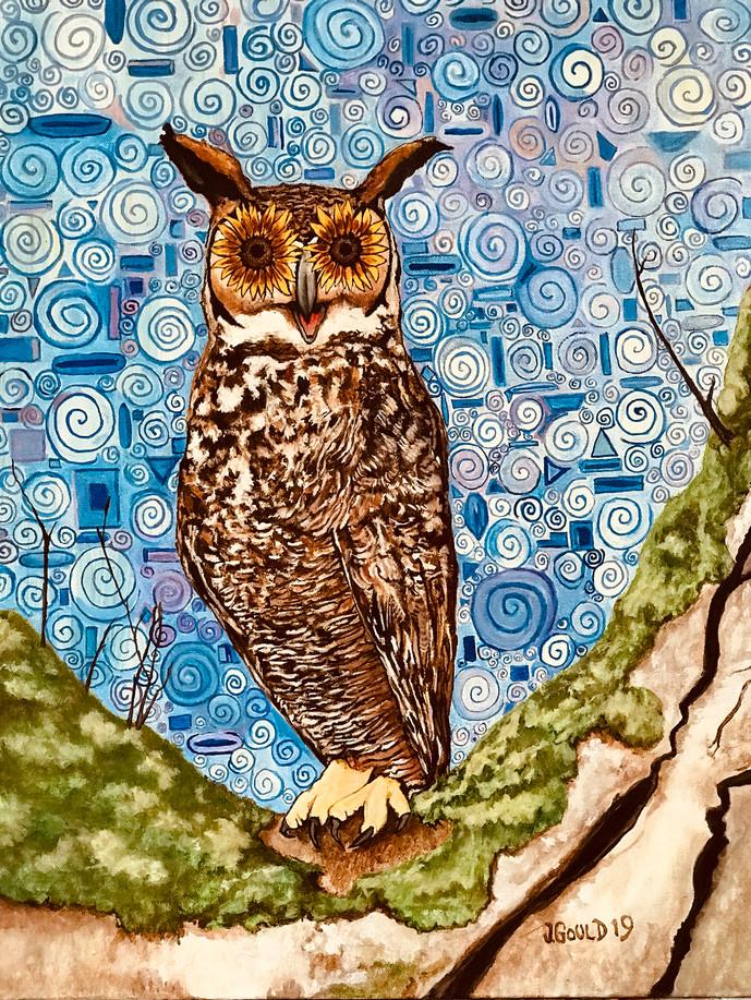 """Flower Power Owl, 18""""x 24"""" Oil on Canvas"""