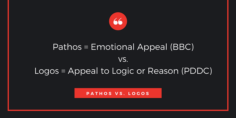 The explanation of the difference between pathos and logos.